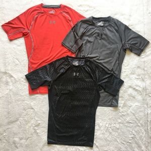 Under Armour 3 UA HeatGear Compression Shirts Lot